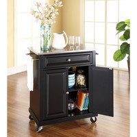 Stainless Steel Top Portable Kitchen Cart Island in Black Finish