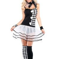 Harlequin Sleeveless Sheer Ruffle Costume