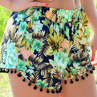 Floral Elastic Waist Shorts with Pom Deco