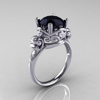 Modern Vintage 14K White Gold 2.5 Carat Black Onyx Wedding, Engagement Ring  R167 14KWGDBO