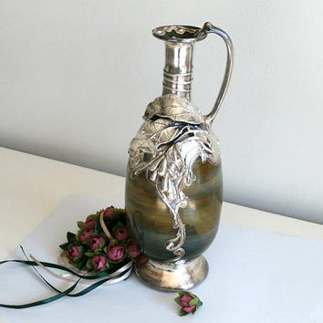 Glass Pitcher Vase With Polished Sterling Silver Overlay Mount,  Loetz style Art Nouveau, Unsigned, Glass Pitcher, Rare Home Decor