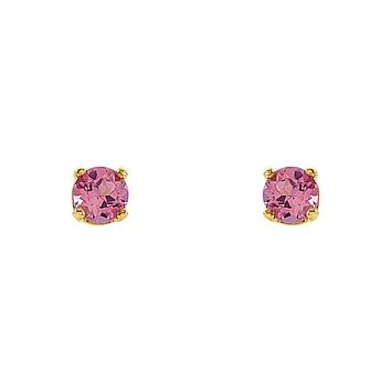 Kids 14k Yellow Gold 3mm Pink Tourmaline Youth Threaded Post Earrings