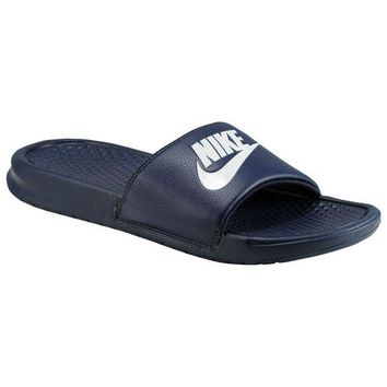 ONETOW Nike Benassi JDI Men's Slide Navy/ Windchill Slipper 343880-403 Free Shipping