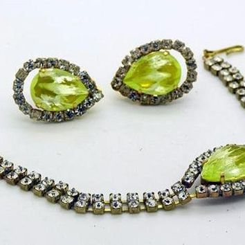 Czech Vaseline Uranium Glass Kutz CZ Rhinestone Bracelet and Clip Earring Set