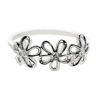.925 Sterling Silver Flower Ring Cubic Zirconia CZ