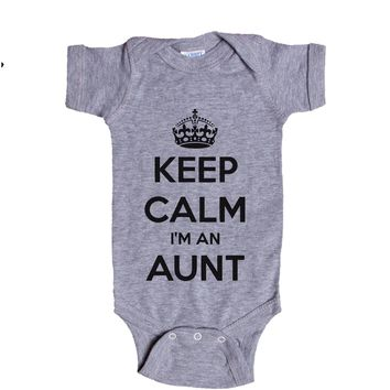 Keep Calm I'm An Aunt  Baby Onesuit