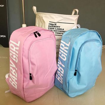The original SuFeng contracted leisure men and women pure color printing letters college student backpack backpack backpack wind wave-1