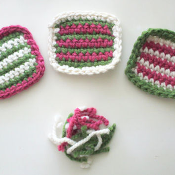 Colorful Spring Coasters, Crochet Coasters, Watermelon Coasters, Wool, Absorbent Coasters, Summer Coasters, Home Decor, Watermelon Decor