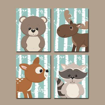 WOODLAND Nursery Decor, Woodland Forest Animals Wall Art, Birch Wood Woodland Forest Pals, CANVAS or Prints, Fox Bear Raccoon, Set of 4