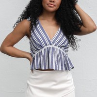 Happy Soul Navy & White Shoulder Tie Top