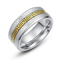 Stainless Steel Two Tone Greek Key Pattern Ring