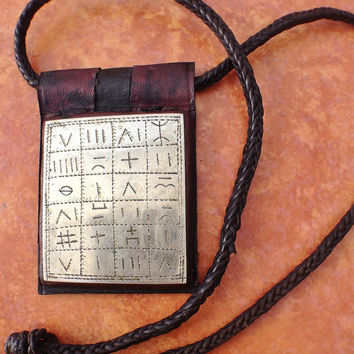 Tuareg Protection Amulet Gris-Gris with Tifinagh inscriptions on Silver plate, South Algeria