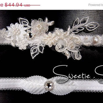 SALE 40% OFF Wedding Garter, Bridal Garter, Garter Set, Flower Garter, Lace Garter, Wedding Keepsake, Toss Garter, Rhinestone Garter  GT010-
