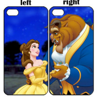 beast and beauty Z0060 iPhone 4S 5S 5C 6 6Plus, iPod 4 5, LG G2 G3 Nexus 4 5, Sony Z2 Couple Cases
