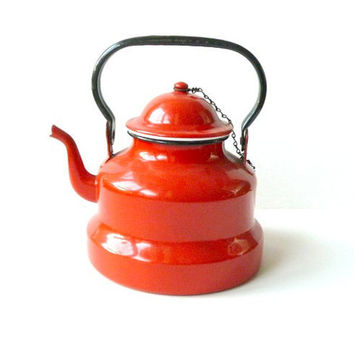 French vintage kettle. Coffee pot .Red .Kitchen decor .Rustic .