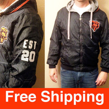 Vintage, Jacket, Football, Chicago Bears, NFL, Football Jacket, Size Adult Medium, Vintage Jacket, Reversible Jacket