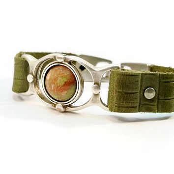 Olive Green Leather Bracelet, Chinese Unakite, Leather Bracelet, Gift for Her, Silver and Leather