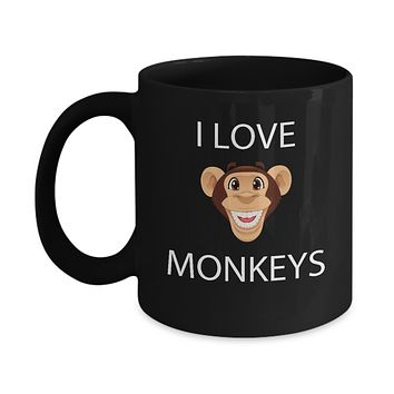 I Love Monkeys Cute Emoji Coffee Mug