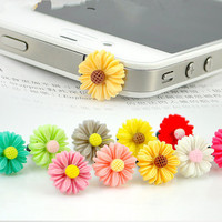 Markdown Sale - Mix Color Colorful Daisy Flower Dust Plug - Smart Phone Dust Stopper Earphone Cap Dustproof Plug Charms for iPhone 4 5 Ipad