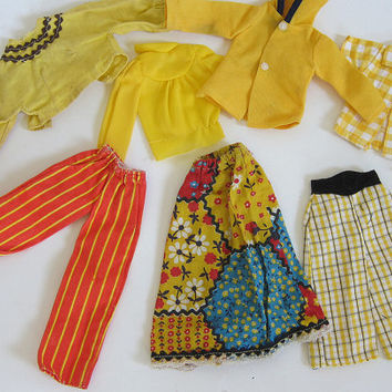 CLEARANCE SALE! vintage collection of hand made barbie doll clothes in yellow