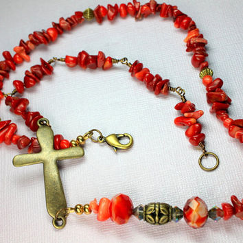 Red Bamboo Coral Necklace, Sideways Cross Necklace, Bright Red Gold Necklace