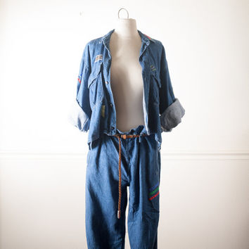 Vintage Naf Naf 80s Jumpsuit | Denim Jumpsuit Slouchy Avant Garde One Piece Jumper Playsuit Romper Oversized Patchwork Crop Top Midriff