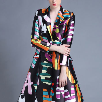 Colorful Print Single-Buttoned Trench Coat
