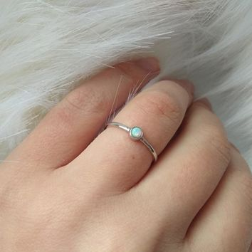 New 100% 925 Sterling Silver size 5-9 simple single stone classic design girl women 3mm round opal stone single stone opal ring