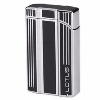 Lotus L47 Intrepid Black Gloss & Polished Chrome Twin Flame Lighter with Punch