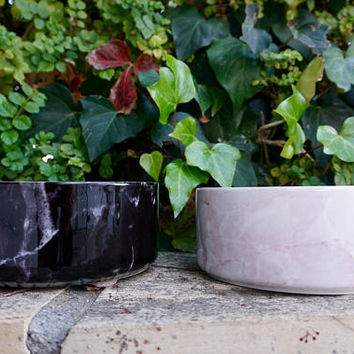 Modern Ceramic Dog Bowl in Black Marble // Food & Water Dish for Pets // Large, Heavy, No-Spill Pet Bowls // Hip, Cute Gifts for Dog Lovers
