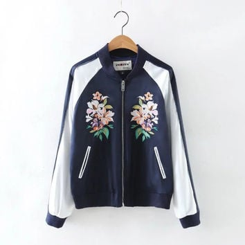 On Sale Hot Deal Sports Autumn Women's Fashion Stylish Embroidery Floral Jacket Slim Baseball [6332329028]