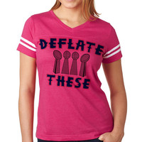 Deflate These 2 Now Available on Women's NFL Football Tee Jersey   New England Jersey   Women's Patriots Tee Shirt   Custom NFL Tees