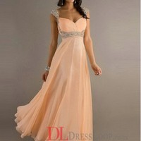 2014 New Styles Style A-Line Straps Chiffon Pearl Pink Long Prom Dress/Evening Gowns With Beading VTC001