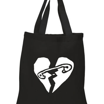 "5 Seconds of Summer 5SOS ""New Broken Scene / Safety-Pin Heart"" 100% Cotton Tote Bag"
