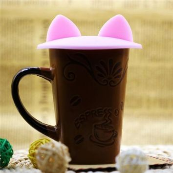 Cat Ears Silicone Insulation Cup Cover Dustproof Reusable Lid