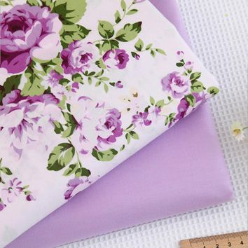 Tilda Cotton Print Material Purple Flowers Textiles Twill Upholstery Curtains Beddings Fabric Yard