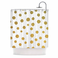 "Nika Martinez ""Golden Dots"" White Yellow Shower Curtain"