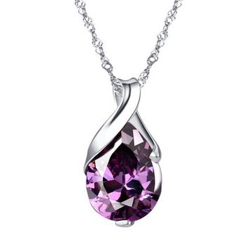 Brazilian Tear Drop Shaped Pendant Necklace