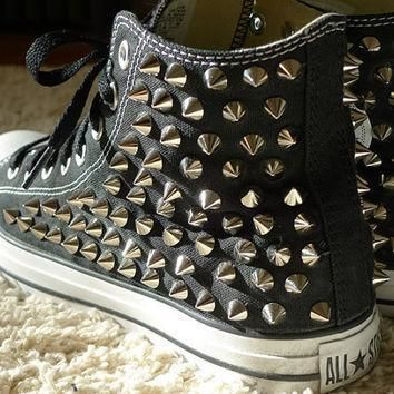 studded black high top converse