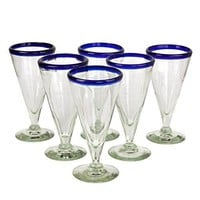 NOVICA Artisan Crafted Hand Blown Recycled Glass Clear Cobalt Blue Rim Cocktail Glasses, 8 oz 'Bohemia' (set of 6)