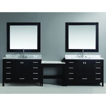 Design Element London 126-inch Single Sink Espresso Vanity Set with Makeup Table, and Bench Seat | Overstock.com Shopping - The Best Deals on Bathroom Vanities