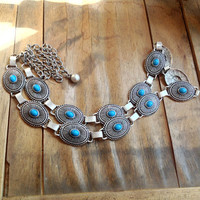 southwestern 80s faux TURQUOISE chain link statement belt // free size