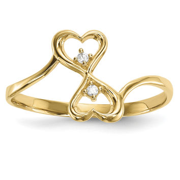 14k CZ Double Heart Ring