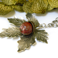 Silver Maple Leaf and Acorn Necklace Long Chain Seasonal Handmade