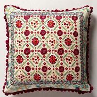 Embroidered Condesa Pillow by Anthropologie Multi 20 Square Pillows