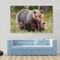 Brown Mother Bear Protecting Her Cubs In A Finnish Forest Canvas