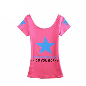 2016 Korean Style Women Slim Short Sleeve T-Shirt Round Neck Female Letters Print Tee Shirt Fashion Solid T Shirt