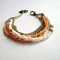 Softly - romantic Boho style ivory peach multiple chain bracelet
