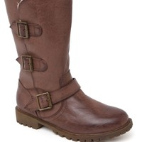 Black Poppy Irma Triple Buckle Sherpa Boots - Womens Boots - Brown
