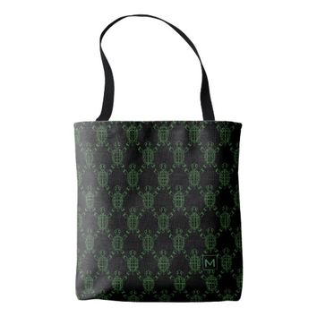 Monogram Black Turtle Argyle Tote Bag